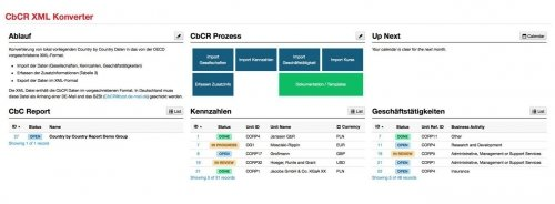 CbCR XML Konverter - Dashboard