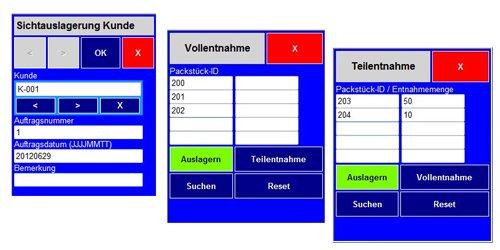 Mobile Anwendungen (Handheld) - Sichtauslagerung Kunde