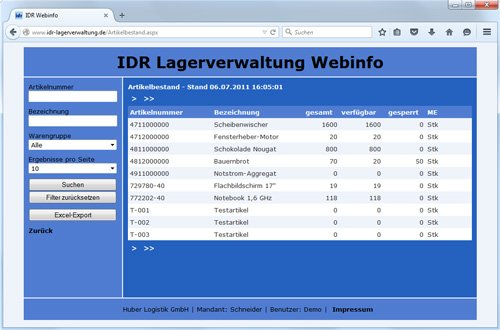 Webinfo-System (Desktop-Version)