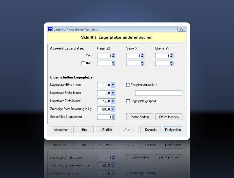 Lagerkonfiguration - Schritt 3
