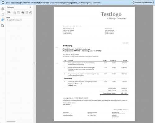 Rechnung PDF (hier mit ZUGFeRD)
