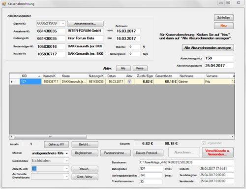 1. Produktbild TaxeDFÜ - Abrechnungsprogramm mit elektronischer Kassenabrechnung