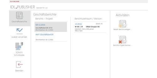 IDL.PUBLISHER Startbildschirm und Einstieg