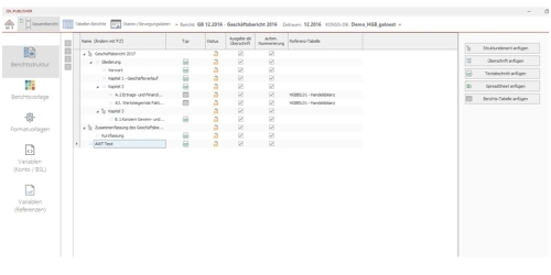 Berichtsprojekt - Aufbau der Berichtsstruktur in Text- und Tabellenabschnitten
