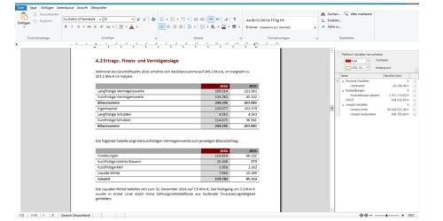 Textabschnitt mit Berichtstabellen