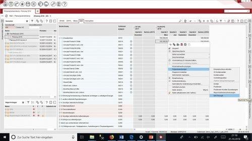 Finanzwirtschaftliche Planung - Drill Through im Planungsformular