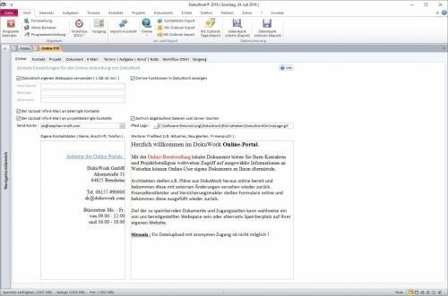 Online-Portal Grundeinstellungen