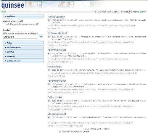 2. Produktbild quinsee Enterprise Search - Suche nach Dokumenten im Unternehmen