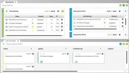 Agiles Projektmanagement mit dem User Story Board und Backlogs in objectiF RPM