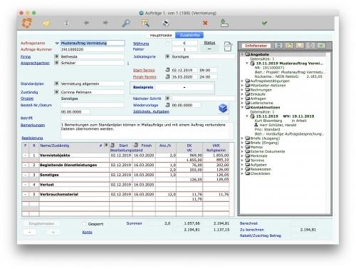 Eingabemaske Auftrag - Unternehmenssoftware PM II für Dienstleistungs- und Verleihunternehmen