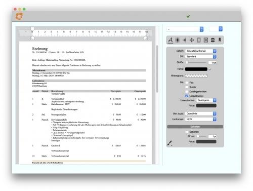 Integrierte Textverarbeitung - Unternehmenssoftware PM II für Dienstleistungs- und Verleihunternehmen