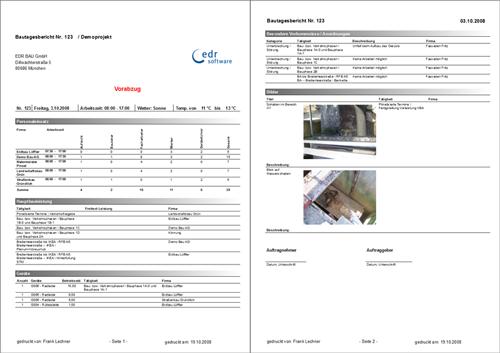 2. Produktbild docma® REPORT :: Bautagebuch und Nachtragsmanagement