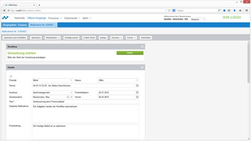 3. Produktbild Prozessmanagement, QM und Workflow mit CWA Flow