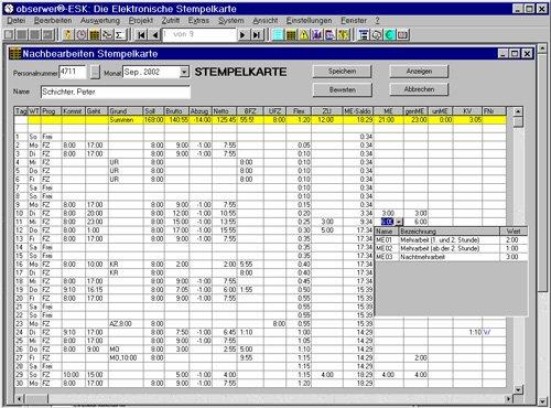 5. Produktbild obserwer.PZE (Personalzeiterfassung)