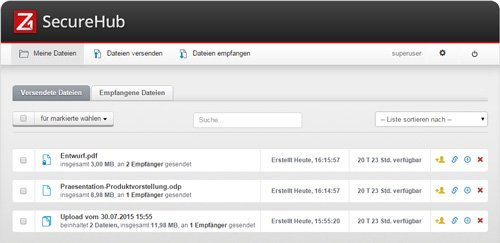 2. Produktbild - User-Dateiverwaltung im Z1 SecureHub Portal