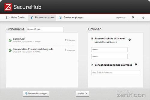 1. Produktbild - Datei-Upload mit Z1 SecureHub