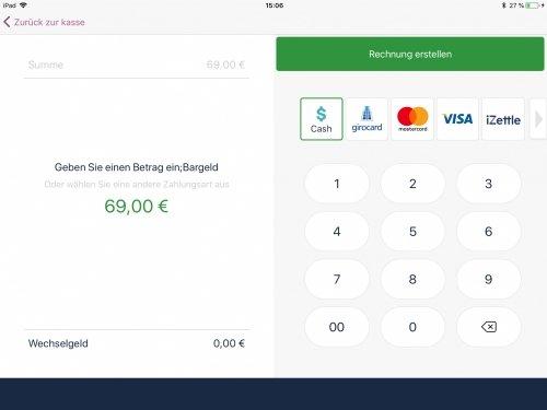 Bezahlvorgang - Beispiel zeigt Cash (Barzahlung) an