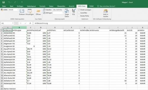 1. Produktbild mgsODBCToExcel - Datenauswertung