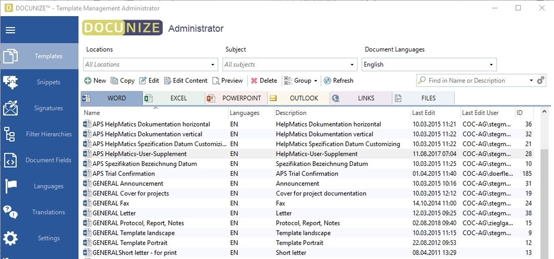 Software: DOCUNIZE™ – Management System for MS Office Templates