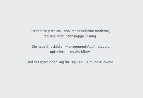 2. Produktbild firstaudit - Digitale Checklisten App