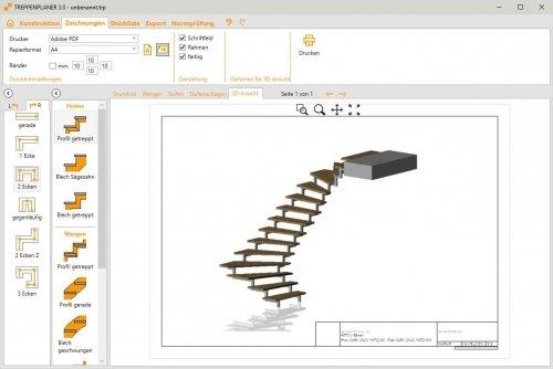 TREPEDIA TREPPENPLANER - Zeichnungsausgabe 3D-Ansicht