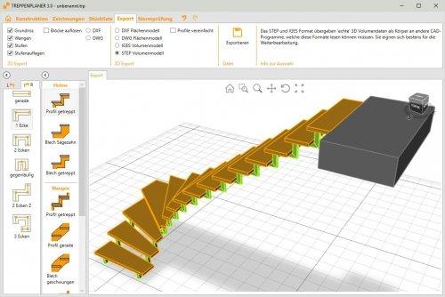 TREPEDIA TREPPENPLANER - 3D Export DXF / DWG / IGES / STEP