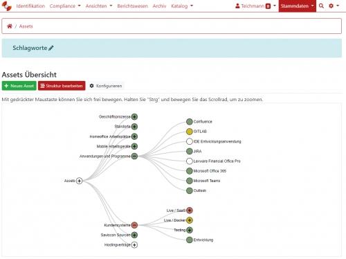 Übersicht Assets (hier: IT-Elemente)