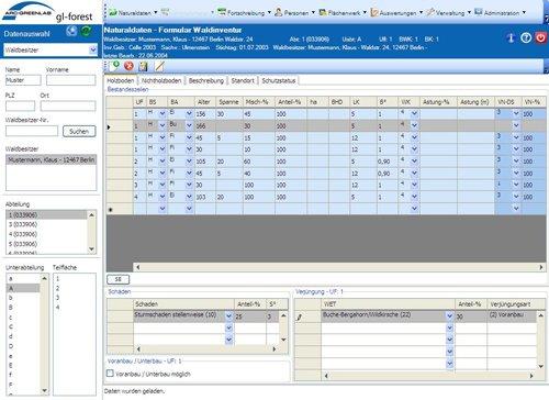 Datenerfassung in gl-forest