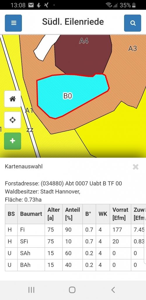 Mobile App: Anzeige der Bestandsinformationen