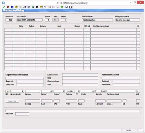 1. Buchungsmaske Dialogbuchung/ Softwarelösung für Steuerberater/Unternehmer/Speditionen