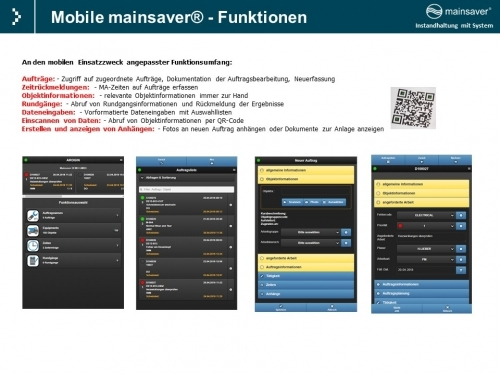 Mobile mainsaver® - Funktionen