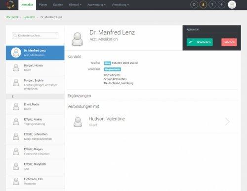 Kontaktmanager mit Klientenverlinkungen