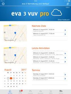 Startseite der App eva/3 work pro