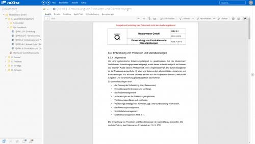 roXtra Dokumente | Ansicht eines Dokuments in roXtra