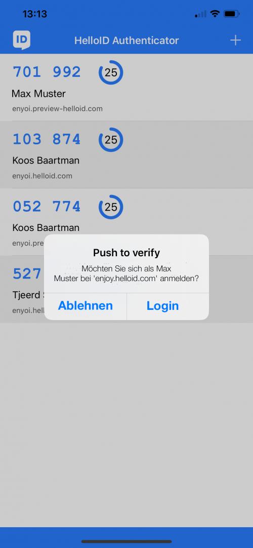 Authentifizierung mit Push-to-Verify