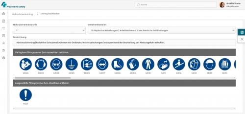 Gefährdungskatalog, damit verbundene, wiederkehrende Maßnahmentexte und ein Katalog persönlicher Schutzausrüstung