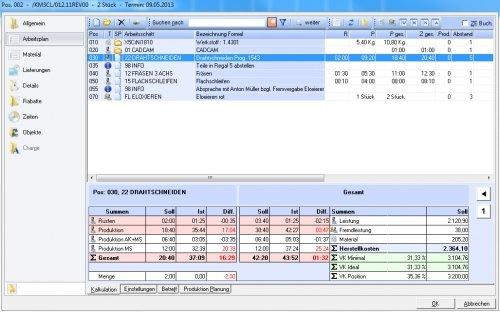 Arbeitsplan und mehrstufige Kalkulation