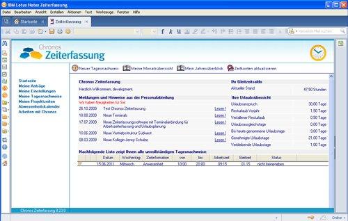 1. Produktbild CHRONOS Zeiterfassung für LOTUS NOTES & DOMINO