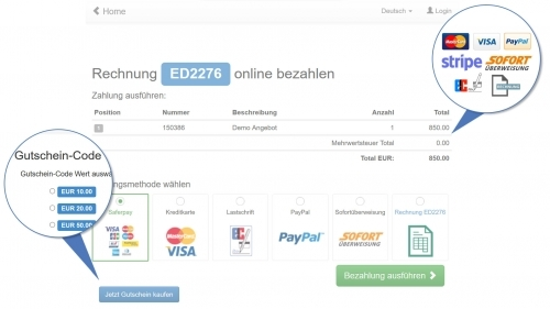 Eine Vielzahl von Sicheren Bezahlsystemen stehen zur Verfügung (Kreditkarten, Paypal, Sofort, Rechnung, SEPA usw.)