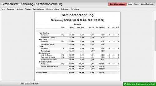 Seminarabrechnung