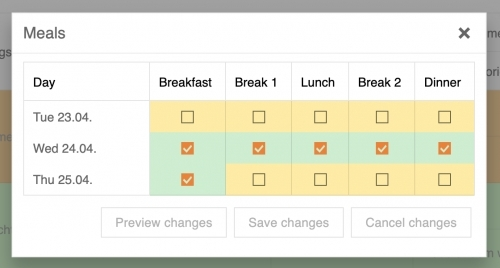 Booking - Meal Plan