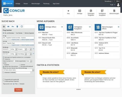 Flugsuche mit Concur Travel am Desktop