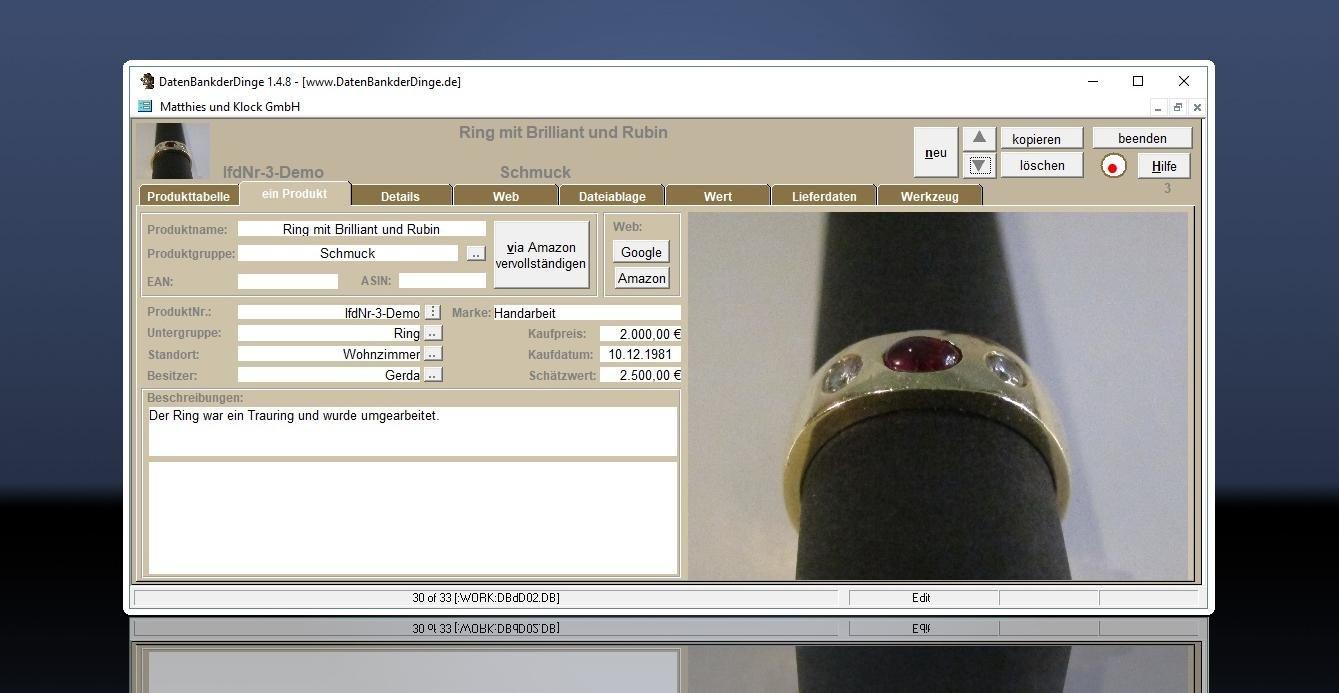 Datenbankderdinge Hausrat Und Inventarsoftware Inventarverwaltung