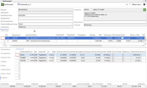 Rechnungsposition mit Tageskursen und Gewichtsanteilen
