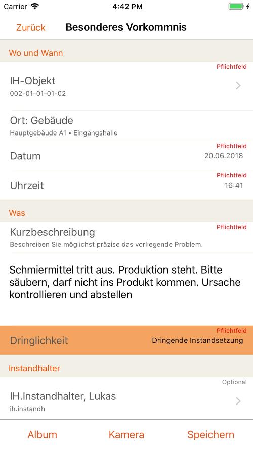 mobile Wartungsplaner App - Leistung erfassen