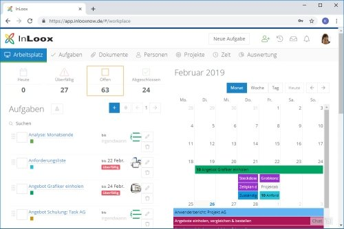 InLoox Web App - Arbeitsplatz