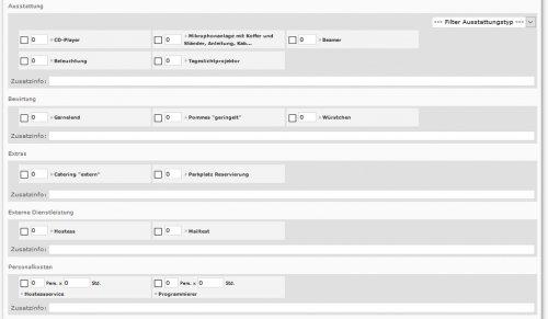 Auswahlmaske für Ressourcen Veranstaltungsvorgang