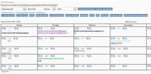 Belegungsplan Kalenderansicht