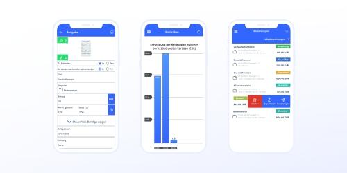 In der mobilen App können Sie Ausgaben erstellen, prüfen und abrechnen!