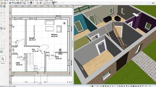 Gleichzeitig in 2D-Grundriss und 3D-Modell arbeiten